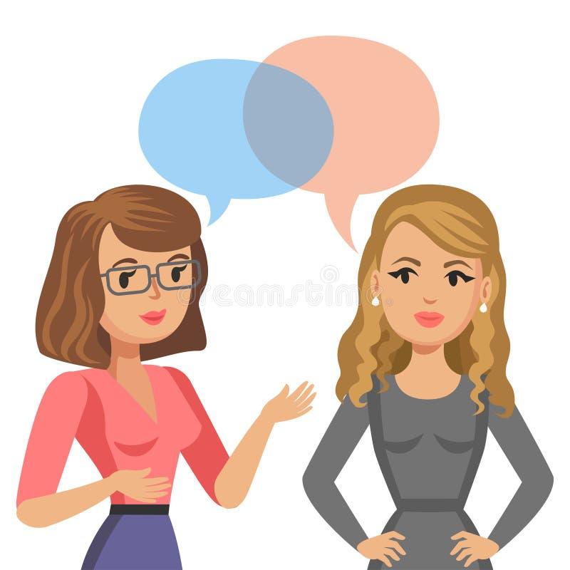 Fala de duas mulheres novas Colegas ou amigos da reunião bisbolhetice ilustração do vetor