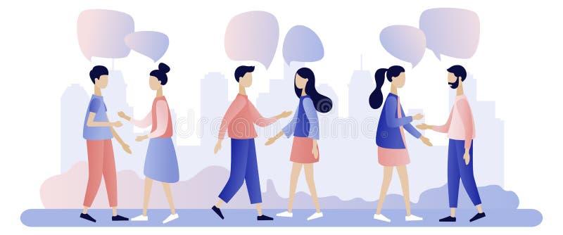 Fala do grupo de pessoas Os homens de neg?cios discutem a rede social, not?cia, redes sociais, bate-papo, bolhas do discurso do d ilustração stock