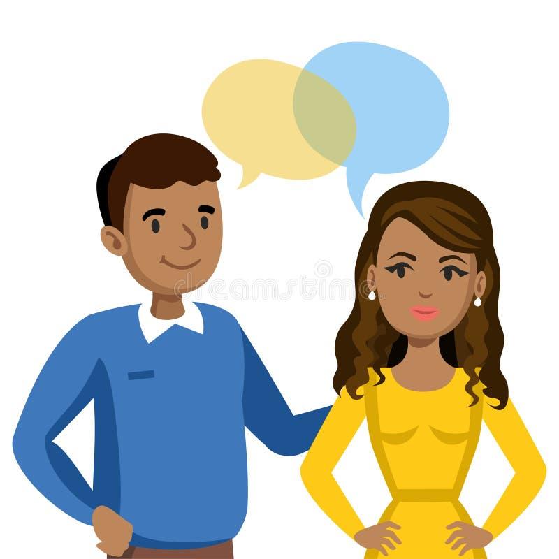 Fala do homem e das mulheres Conversa dos pares ou dos amigos Vetor ilustração royalty free