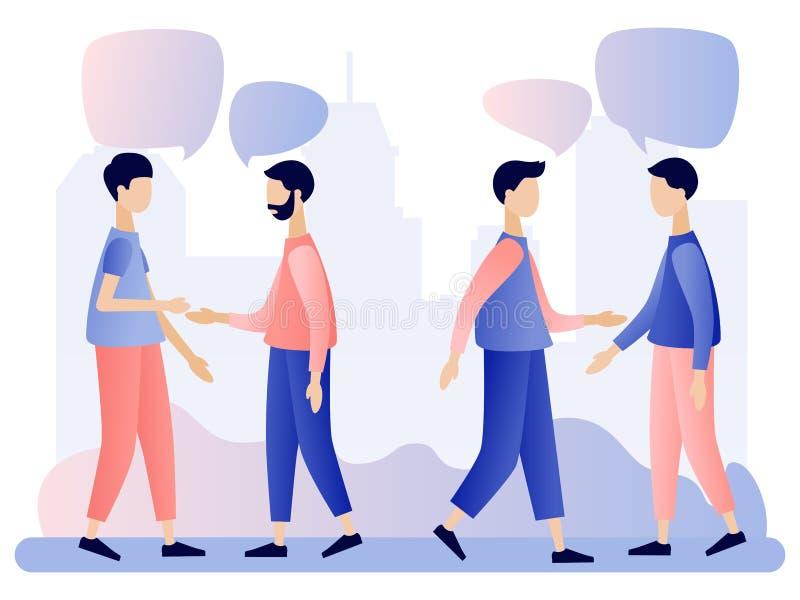 Fala dos homens Os povos discutem a rede social, not?cia, redes sociais, bate-papo, bolhas do discurso do di?logo Estilo liso ilustração stock