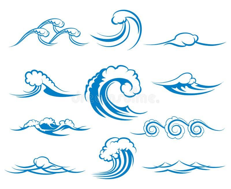 Fala morza lub oceanu fala, wektorowa ilustracja ilustracja wektor