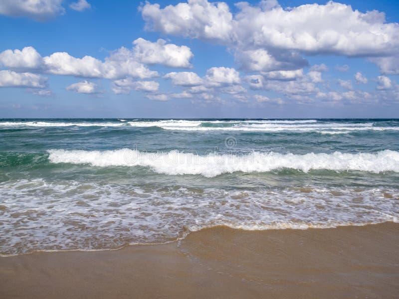 Fala na piaskowatej Czarnej morze plaży, cumulus chmury w niebie zdjęcia royalty free
