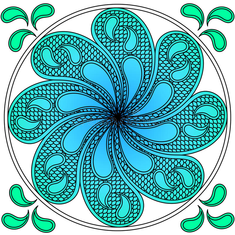 Fala nawadniają mandala ilustracja wektor