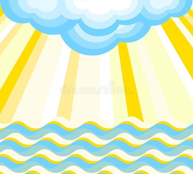 Fala, promienie i chmura, również zwrócić corel ilustracji wektora ilustracji