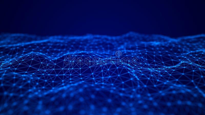 Fala przeplata? punkty i linie abstrakcyjny t?o Technologiczny styl dla nauki, du?y dane ?wiadczenia 3 d ilustracja wektor