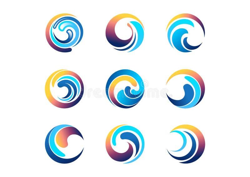 Fala, słońce, okrąg, logo, wiatr, sfera, niebo, chmury, zawijasów elementów symbolu ikona royalty ilustracja