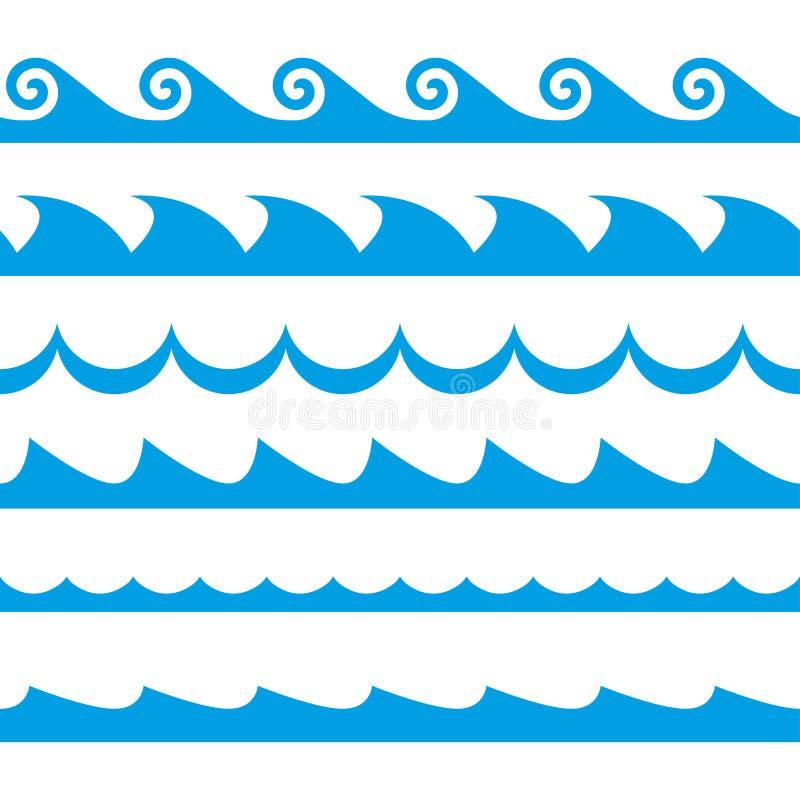 Fala set deseniowe bezszwowe fala Dekoracja szablon morza i oceanu fala również zwrócić corel ilustracji wektora royalty ilustracja