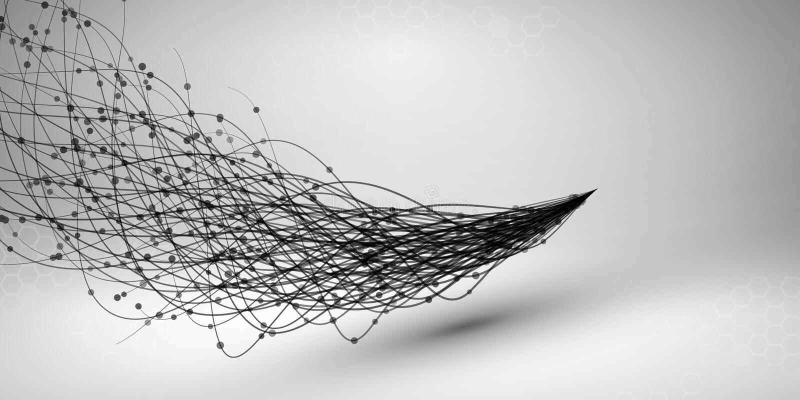 fala Zawijas z związaną linią i kropkami Depeszująca struktura 3d pojęcie związek przygotowywa mechanizm tła binarnego kodu ziemi royalty ilustracja