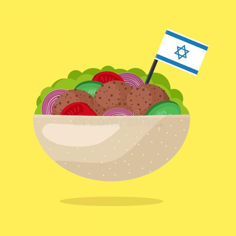 Falafel с израильским флагом Вегетарианский фаст-фуд вектор иллюстрация штока