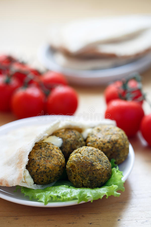 Falafel balls with pita bread stock photo