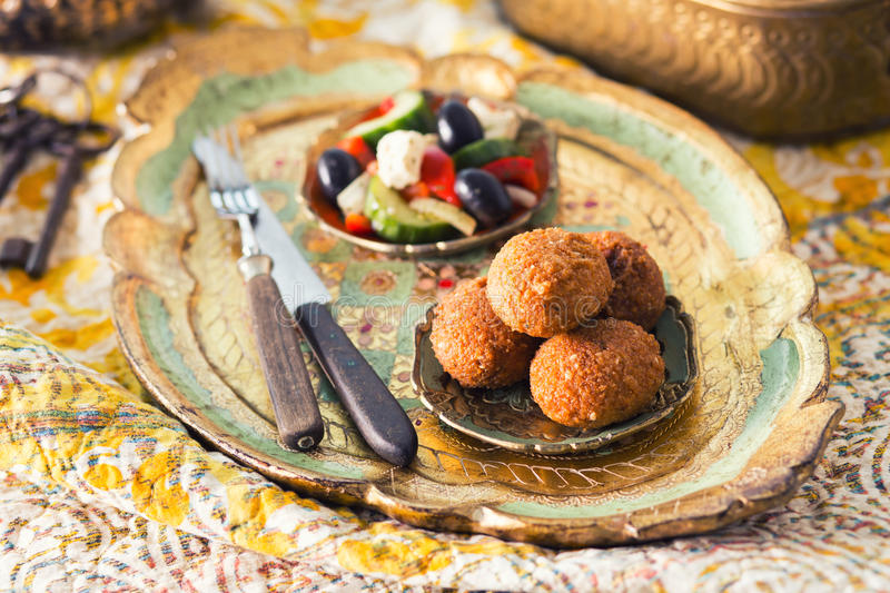 Falafel balls with salad royalty free stock photo