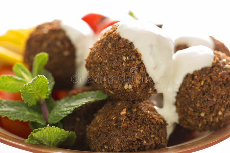 Falafel close up. Detailed close up of the famous falafel, a middle eastern dish royalty free stock images