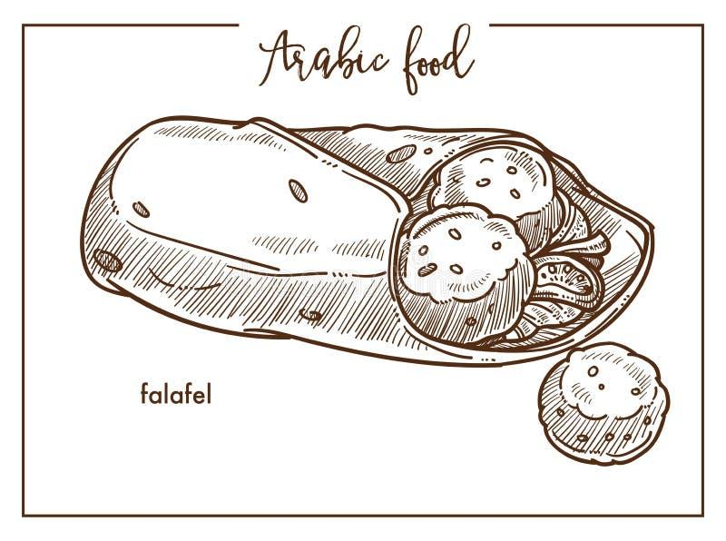 Falafel com pão do pão árabe do alimento árabe tradicional ilustração stock
