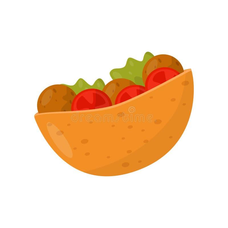 Falafel dans le pain pita, salade de boulette de viande en pain, illustration juive traditionnelle de vecteur de nourriture sur u illustration stock