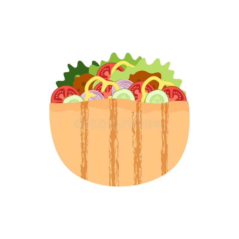 Falafel dans le pain pita, salade de boulette de viande en pain, nourriture juive traditionnelle illustration libre de droits