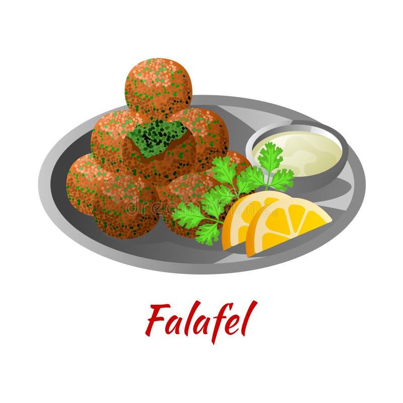Falafel ist köstlich und berühmt Essen von Halal in farbigen Gradienten Design-Icon stock abbildung