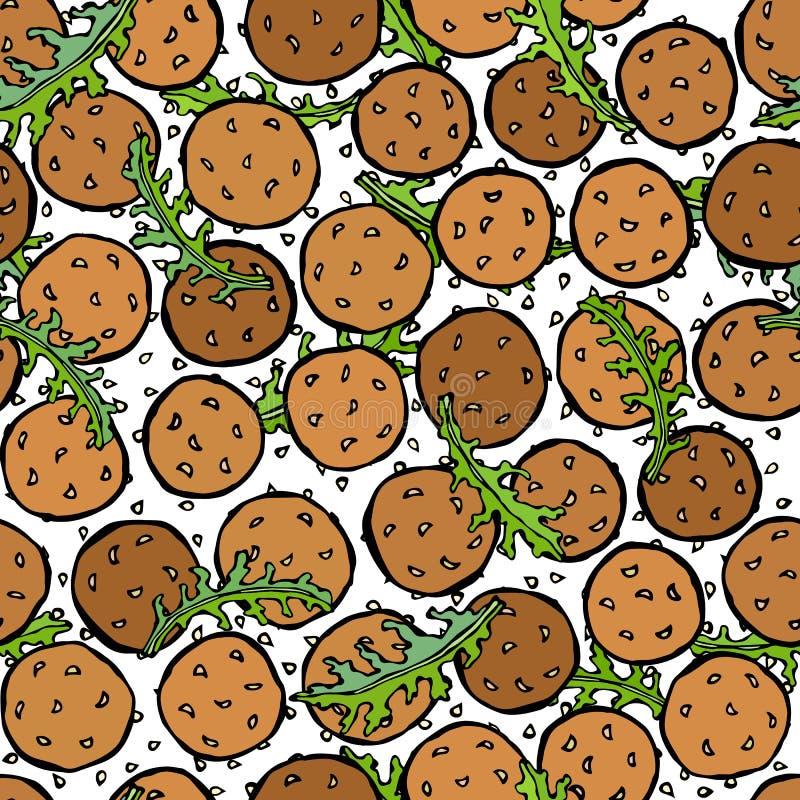 Falafel, les graines de sésame, Arugula Herb Leaves Seamless Endless Background Israel Vegetarian Healthy Fast Food arabe Rue jui illustration libre de droits