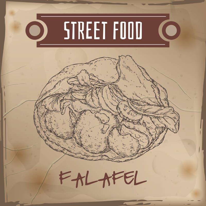 Falafel nello schizzo della pita sul fondo di lerciume illustrazione vettoriale