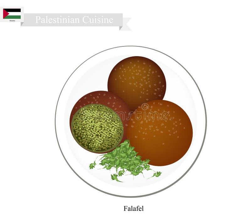 Falafel ou Fried Ball profond palestinien des pois chiches et des épices illustration stock