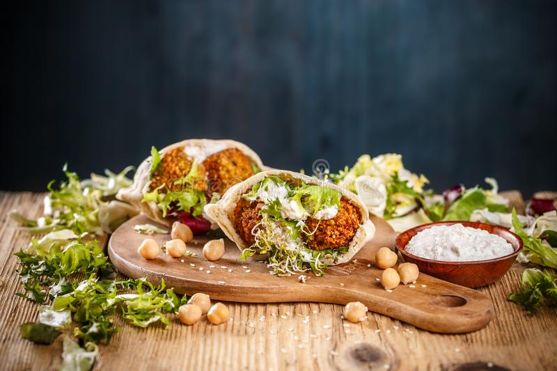 Falafel in pita bread stock image