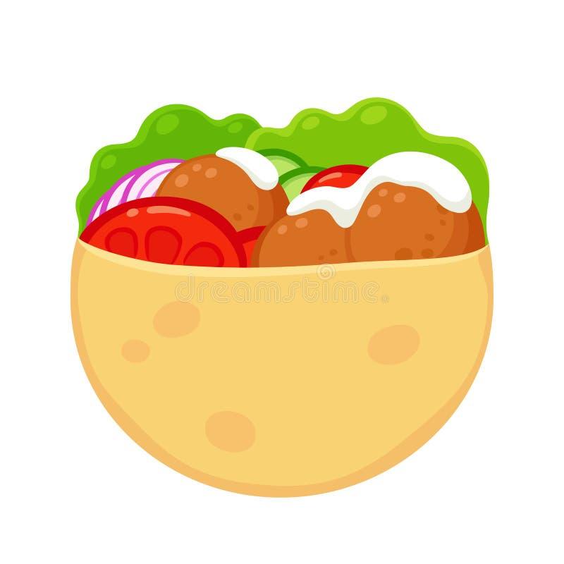Falafel in pita vector illustration