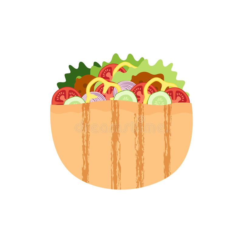 Falafel in pitabroodje, vleesballetjesalade in brood, traditioneel Joods voedsel royalty-vrije illustratie