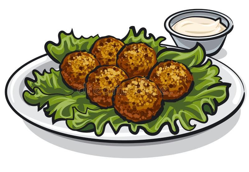 Falafel traditionnel avec de la laitue illustration de vecteur