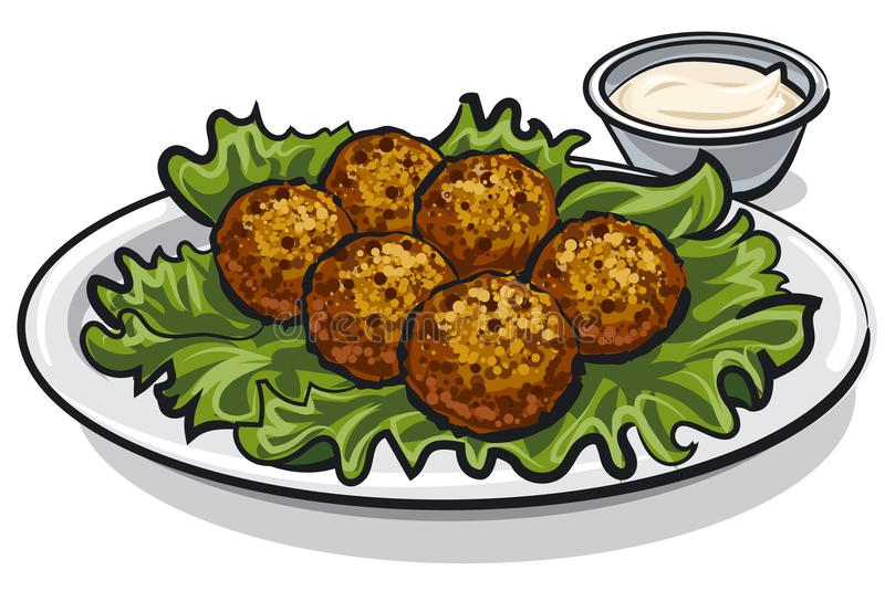 Falafel tradizionale con lattuga illustrazione vettoriale