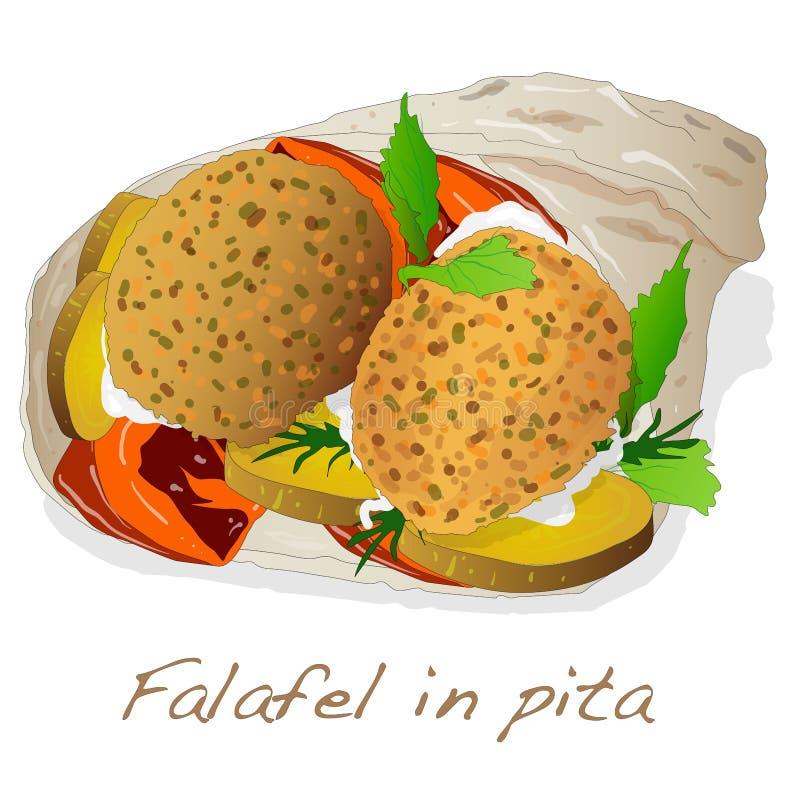 Falafel w pita wektorze ilustracji