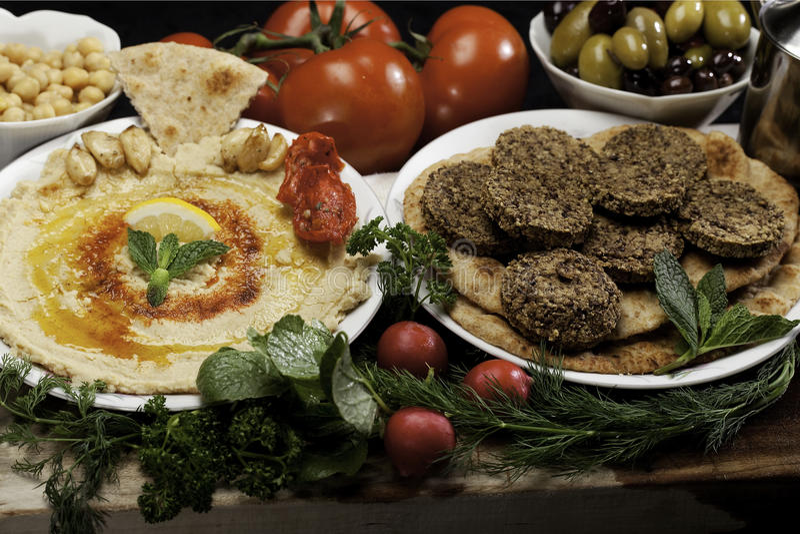 falafels humusowi zdjęcie stock