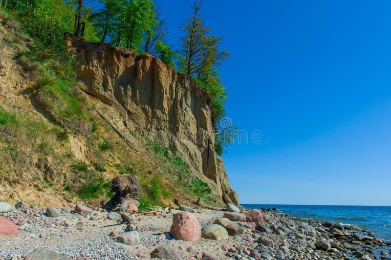 Falaise d'Orlowo à la mer baltique, Pologne image stock