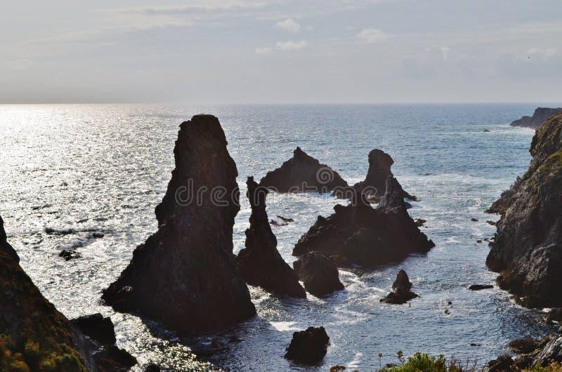 Falaise de Belle ile en mer 库存图片
