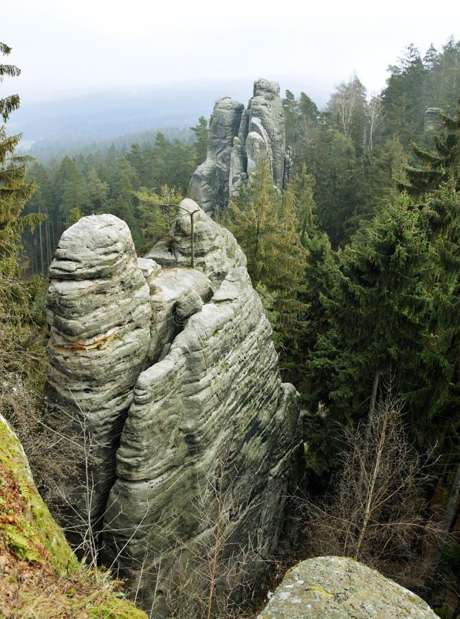 Falaises de grès dans le paradis de Bohème - les roches de Prachov - paysage images stock