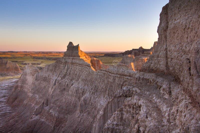 Falaises de saleté au parc national de bad-lands dans le Dakota du Sud photos libres de droits