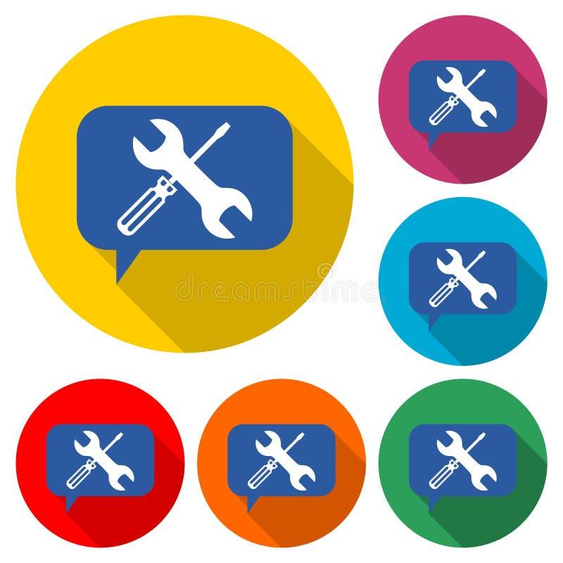 Falando sobre o ícone ou o logotipo da manutenção, grupo de cor com sombra longa ilustração stock