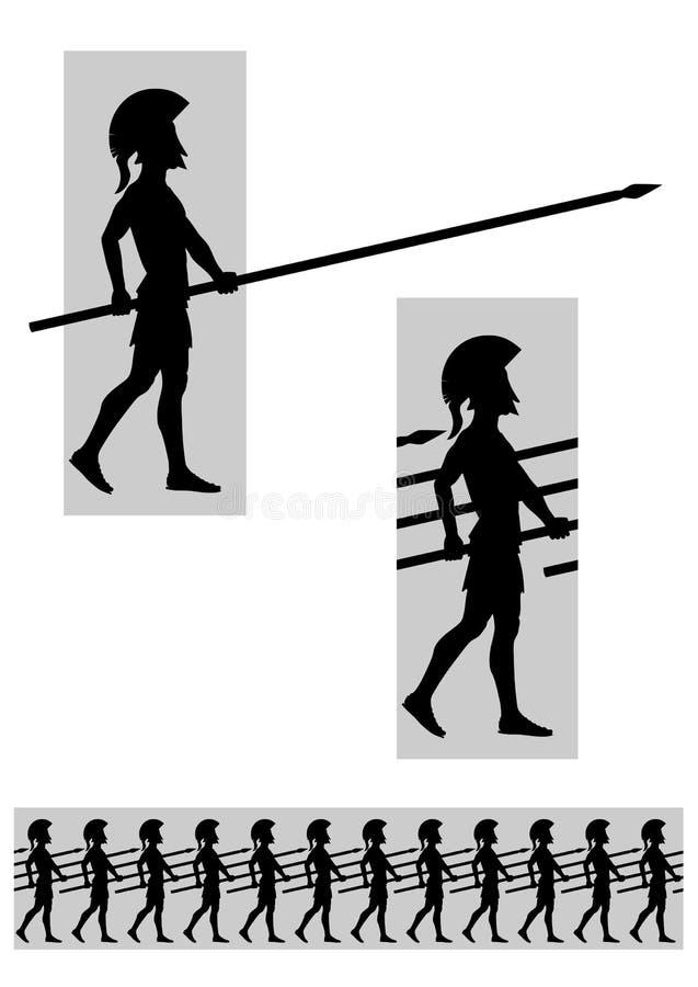 Falange senza cuciture in marcia degli Spearmen illustrazione di stock