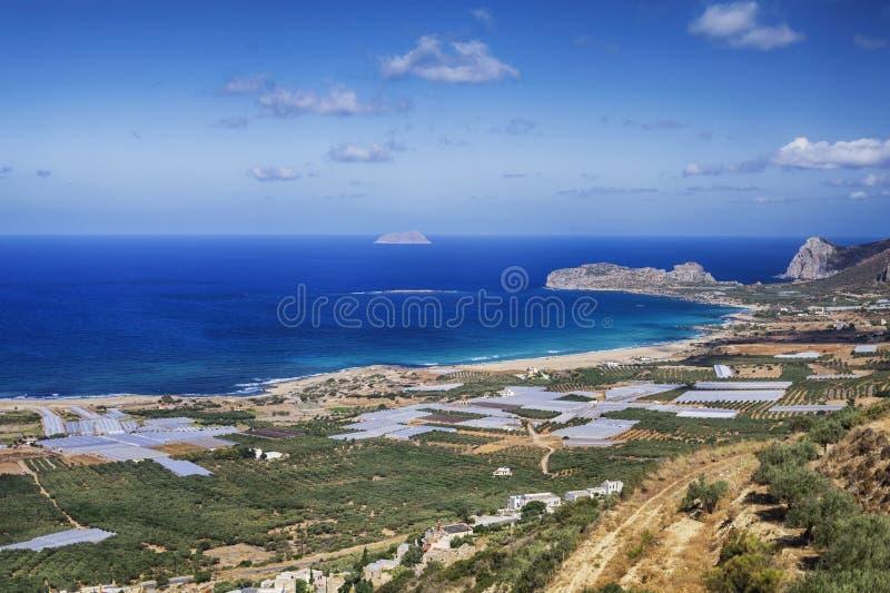 Falasarna海滩在克利特海岛 免版税库存照片