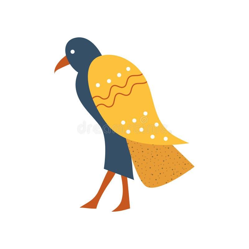 Falcão, pássaro azul com símbolo dourado das asas da ilustração egípcia tradicional do vetor dos desenhos animados da cultura ilustração do vetor