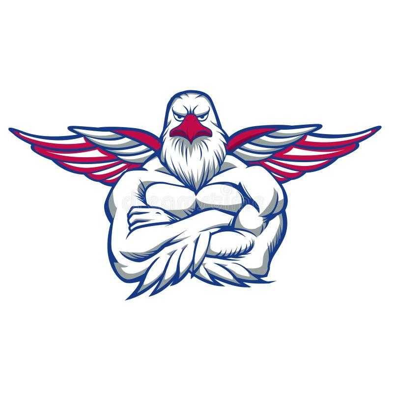 Falcão que espalha as asas ilustração stock