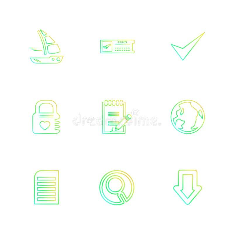falcówka, kartoteki, książka telefoniczna, rewizja, kod, eps ikony ustawia vecto royalty ilustracja