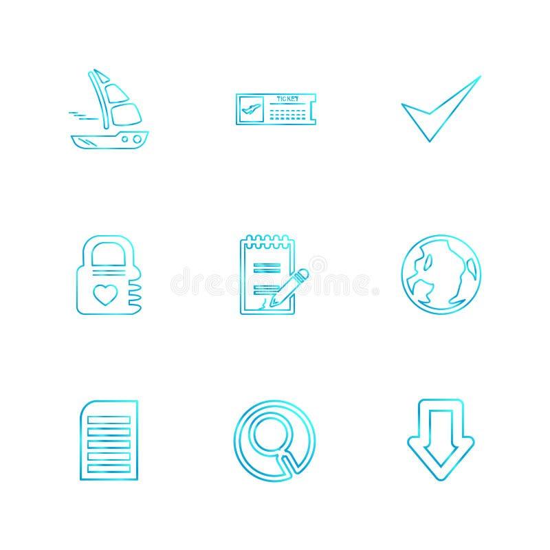 falcówka, kartoteki, książka telefoniczna, rewizja, kod, eps ikony ustawia vecto ilustracja wektor