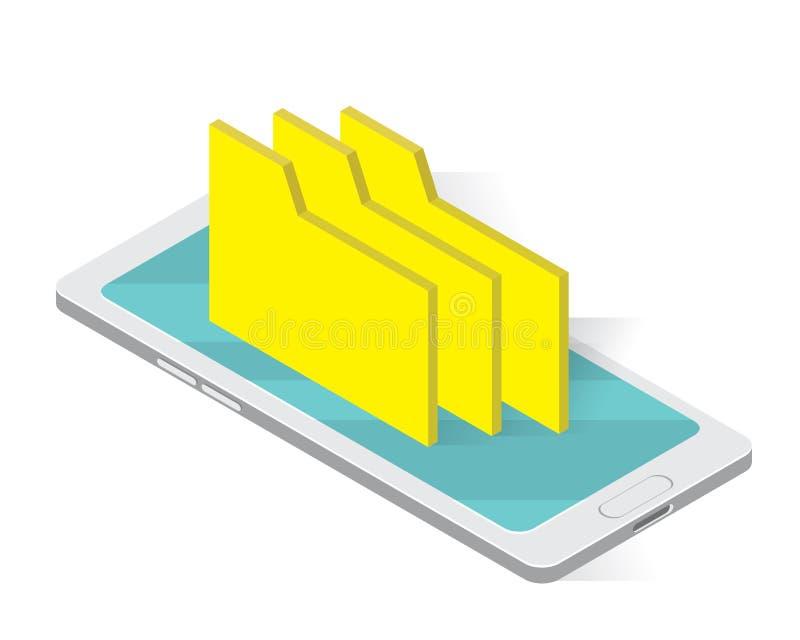 Falcówka na skoroszytowych isometric ikonach pojęcie, telefonu skoroszytowy ilustracyjny wektor, magazyn ilustracji