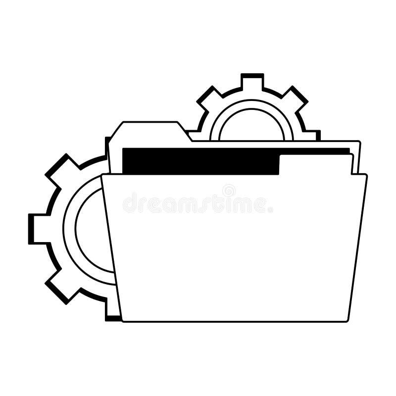 Falcówka nad przekładnia symbolem w czarny i biały royalty ilustracja