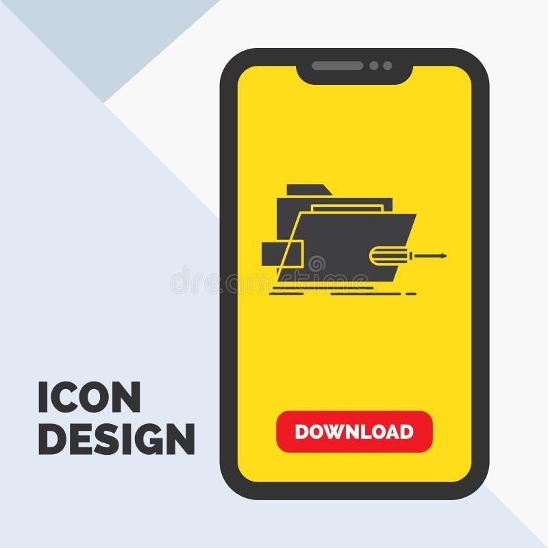 Falcówka, naprawa, skrewdriver, technika, techniczna glif ikona w wiszącej ozdobie dla ściąganie strony ? royalty ilustracja