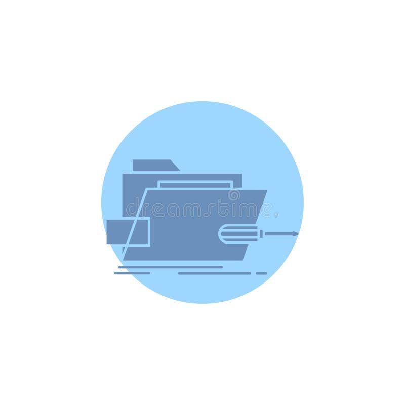 Falcówka, naprawa, skrewdriver, technika, techniczna glif ikona ilustracji