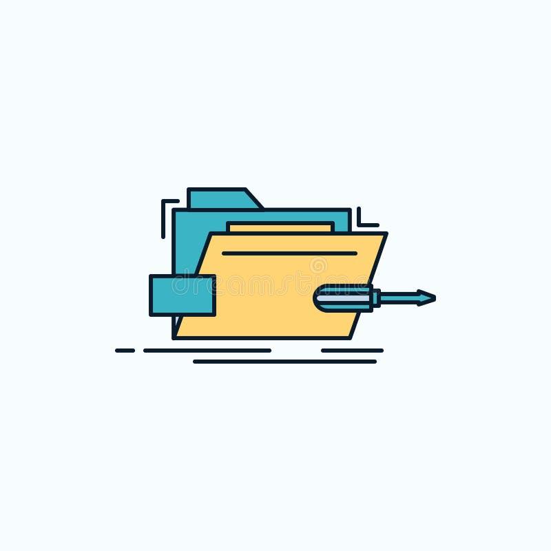 Falcówka, naprawa, skrewdriver, technika, techniczna Płaska ikona ziele?, kolor ilustracja wektor