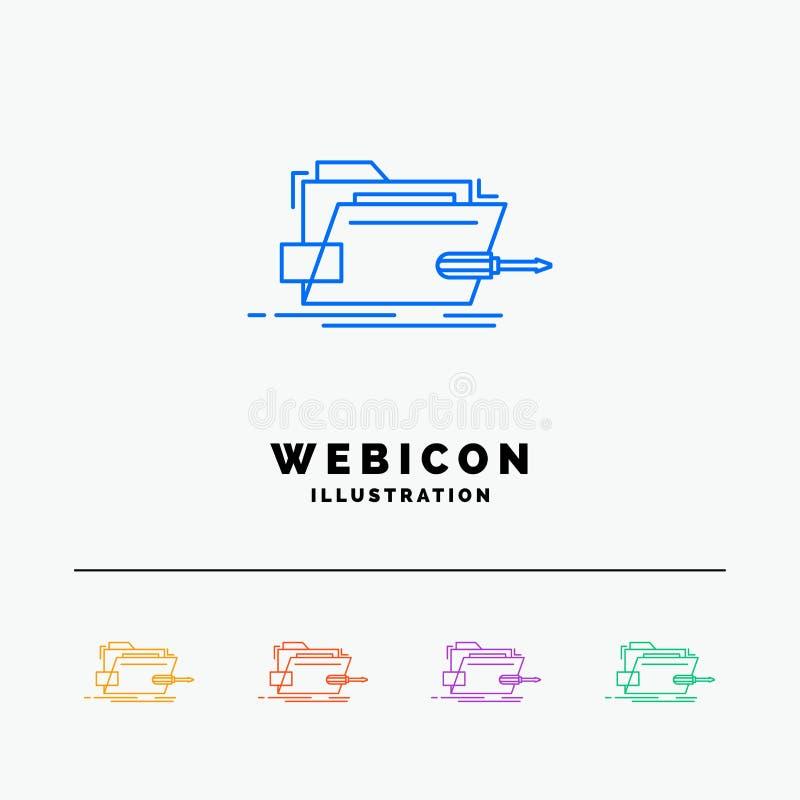 Falcówka, naprawa, skrewdriver, technika, techniczny 5 koloru linii sieci ikony szablon odizolowywający na bielu r?wnie? zwr?ci?  ilustracji