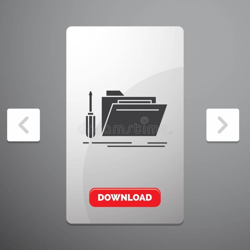 falcówka, narzędzie, naprawa, zasoby, usługowa glif ikona w biby paginacji suwaka projekcie & Czerwony ściąganie guzik, royalty ilustracja