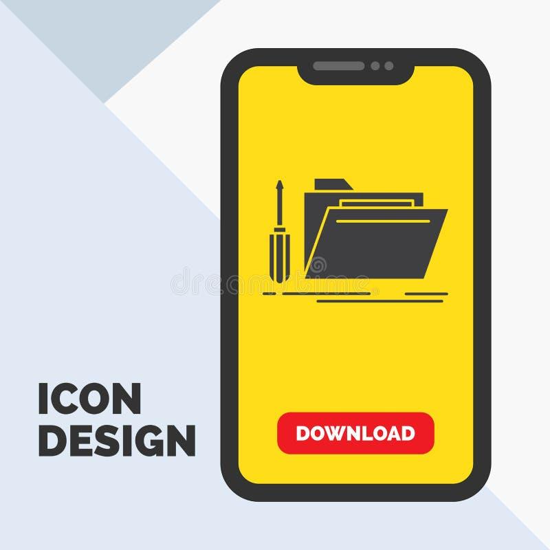 falcówka, narzędzie, naprawa, zasoby, usługowa glif ikona w wiszącej ozdobie dla ściąganie strony ? royalty ilustracja