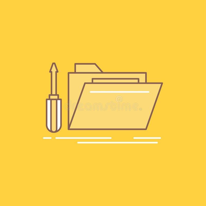 falcówka, narzędzie, naprawa, zasoby, usługowego mieszkania linia Wypełniał ikonę Pi?kny logo guzik nad ? ilustracja wektor